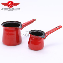 Red Enamel Coffe Warmer Coffee Pot Set
