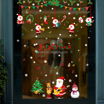 Wall decor stickers Merry Christmas Wall Stickers Decoration Santa Gifts Tree Cartoon Window Wall Stickers