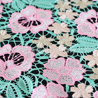 multicolor & guipure thin style l embroidery design floraL lace fabric