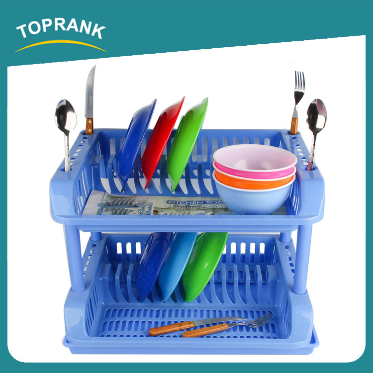Toprank Colored Folding Hanging Drying Dish Rack Plate Storage Kitchen Rack 2 Tier Plastic Dish Rack With Tray