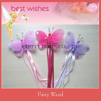Artificial butterfly shaped ribbon wholesale fairy wands for Butterfly wands wholesale
