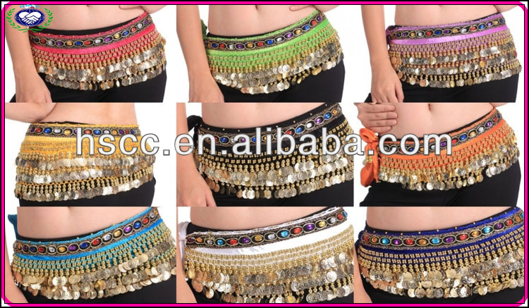 In-stock Belly dance hip scarf costumes gold coins Fashioned Belly dance Belt wholesale price