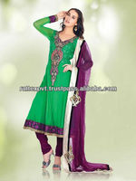 Green Colour Salwar Kamiz With Gorgeous Embroidery Party Wear Dress 2013