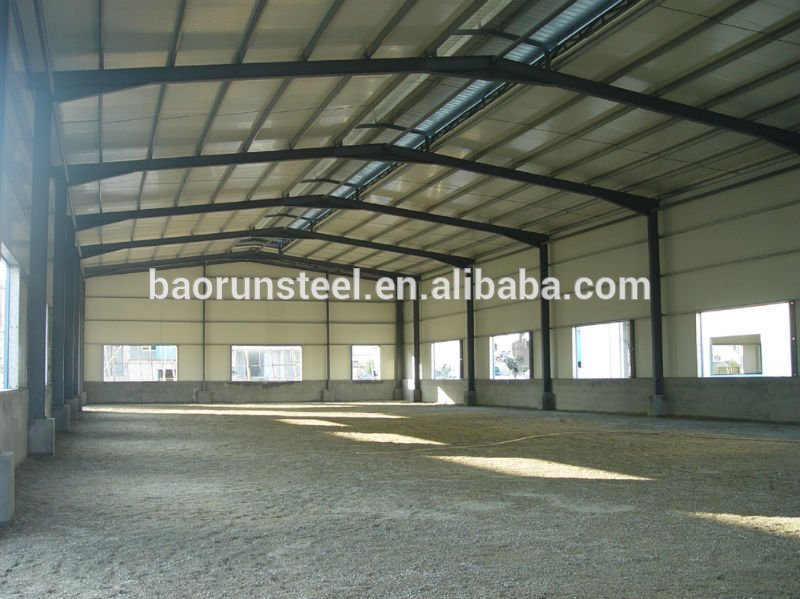Prefab steel structure warehouse with H Column PU Sandwich Wall Panel