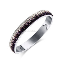 2016 newest half pave white with pouple shiny rhinestone design silver bangle for women high quality stainless steel jewelry