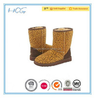 leopard suede upper ladies leather indoor boots