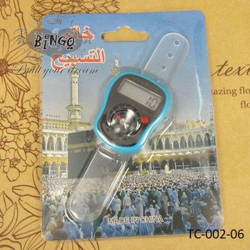 LCD Digtal Ring Finger Tally Counters TASBIH With Compass
