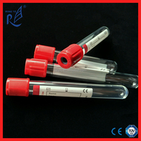 CE ISO approved disposable glass red cap blood vacutainer plain test tube