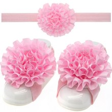 Cute Foot Flower Barefoot Sandals+Headband Baby Set Solid Color Baby Elastic Hair Bands Infant Kids Headbands