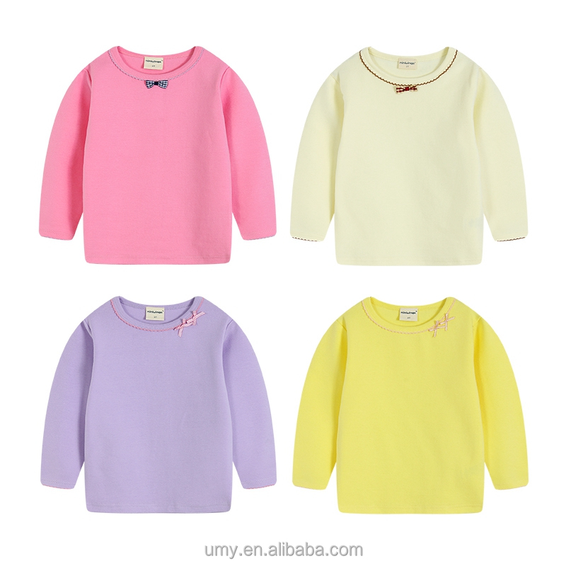 Wholesale Butterfly Knot Design Long Sleeve Baby Girl <strong>Shirt</strong>