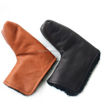 real high quality cattlehide leather golf putter head cover