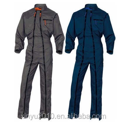 men's workwear boiler suit coveralls with two long zippers for mechanics workers overalls workwear