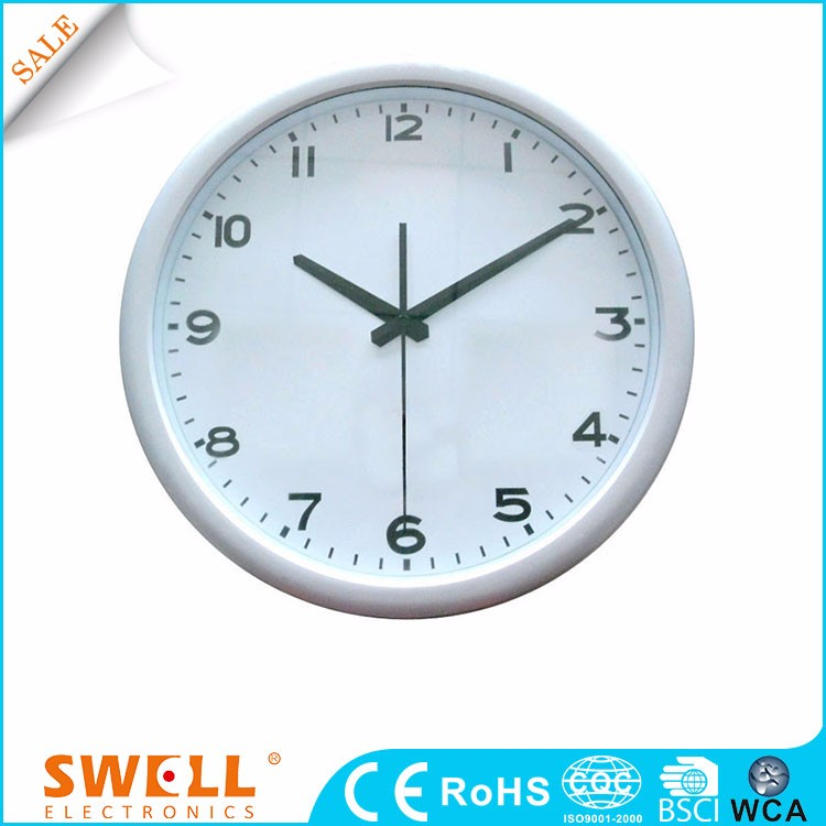 white wall analog quartz plastic round clock dome