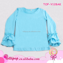 Girls Blank Ruffle Long Sleeve T Shirts Top Girl Baby Fall Childrens Clothing