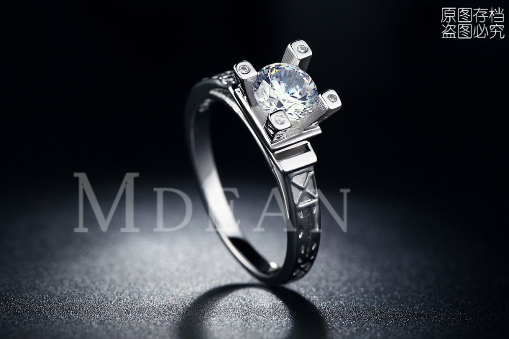 MDEAN Eiffel Tower white gold plated Rings For Women wedding Ring luxury Jewelry Accessories Engagement vintage ringsMSR040