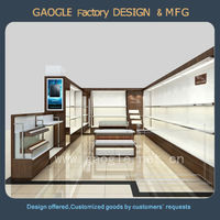 Custom modern wooden wall men 's bag showroom showcase for bags and wallet with low price