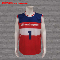Blue red sublimation 1 piece basketball jerseys