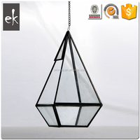 Low Cost High Quality fancy stripe geometry glass candle holders cheap