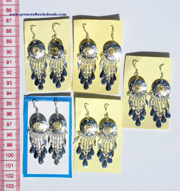 Alpaca Metal Ethnic Peruvian Handmade Earrings Wholesale