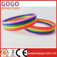 2015 New style attractive design rainbow silicone wristband 6 layer rubber bands