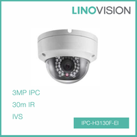 3MP Vandal-proof Fixed Dome Network CCTV Camera with SD Card