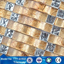 2015 new trend self adhesive gold color glass mosaic tiles dubai
