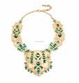 Fashion 2018 statement necklace women gold green statement necklace green stone necklace in statement style