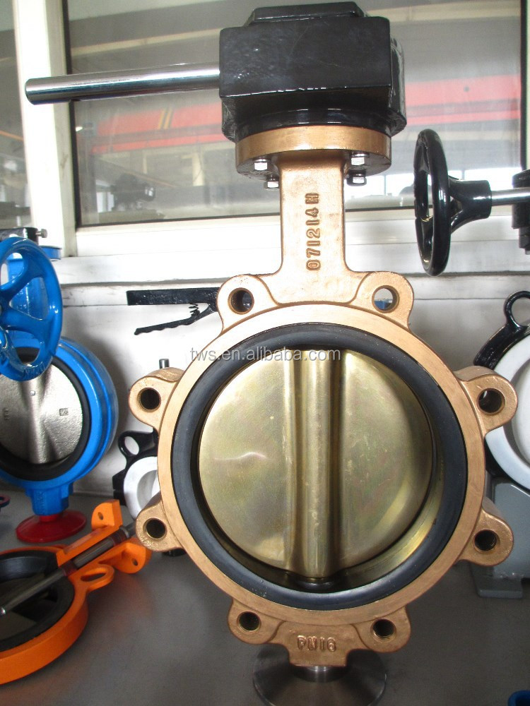Seawater Aluminum Bronze Lug type Butterfly Valve C95400 Polished Screw Drillings ANSI B16.1 CL150