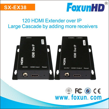 Foxun SX-EX38 unlimited cascade 120m HDMI Extender over IP by adding more Receivers HDMI extender over IP