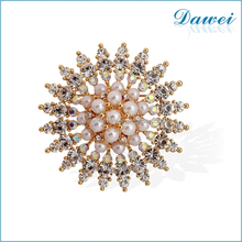 New Style Gold Fancy Beautiful Sunflower Pearl Rhinestones Brooch Pin For Girls