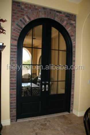 Round top wrought iron french door and window