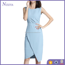 blue split dress office deisgn nice color match dress