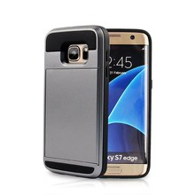 mobile phone back cover, PC+TPU card style for samsung galaxy s7 edge cover case