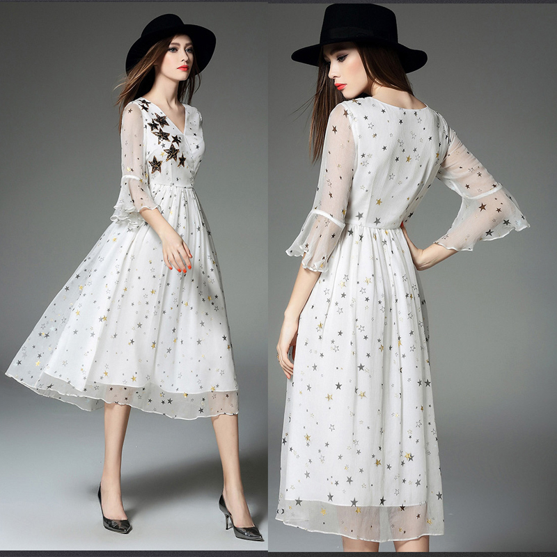 New Style Summer Print Shiny Star fashion floral women long White chiffon long dress