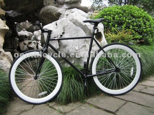 700C black frame with white rims best sale fixed gear bicicletas