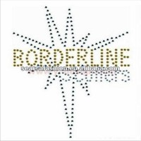 Borderline with sparkles design hot fix rhinestone motif