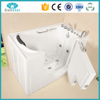 Hangzhou Constar pure acrylic white color walk in freestanding massage bathtub for elder,cheap bathtub for disable
