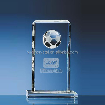 Wholesale honorable blank clear 3d laser crystal glass football trophy for souvenir gift