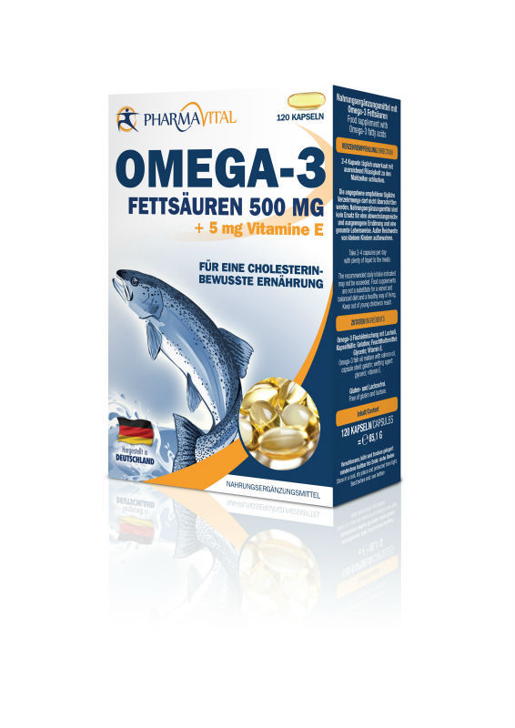 Omega 3 - 500mg fish oil nutrition health food capsules made in Germany