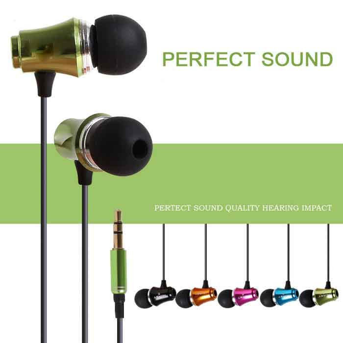 Wired stereo metal earphone with mic for smart phone, MP3 earphone