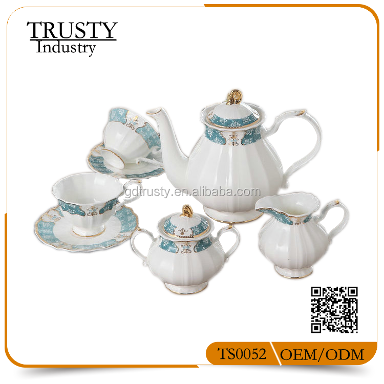 17pcs 15pcs Vintage Turkish blue color bone china gold plated porcelain coffee set tea set