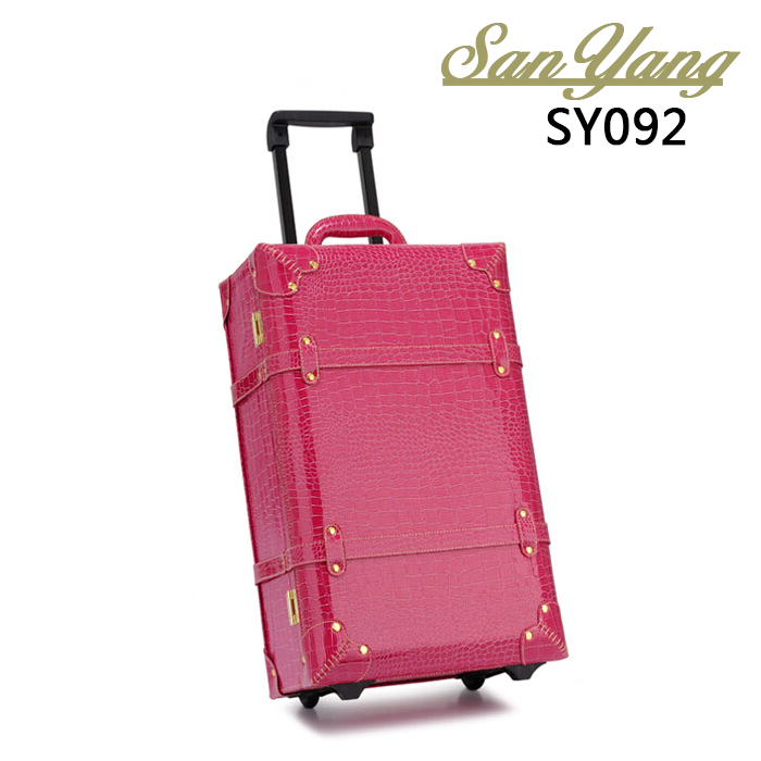 Vintage Luggage Box Travel Bag Trolley Luggage Universal Wheels Female Picture Box Suitcase