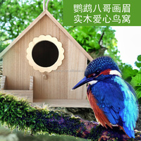 Small new unfinished Wooden craft bird house wholesale, decorative small bird cage for decoration