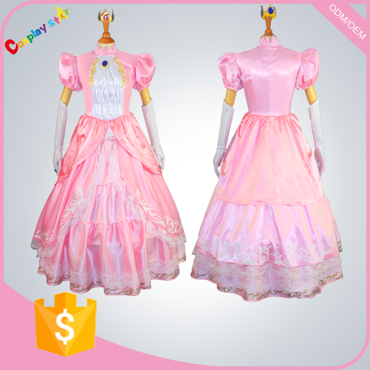 dress up games for girls Princess peach super Mario Costume Maids carnival hot Fancy Dress Cosplay Women for free shipping