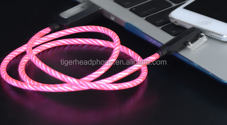 NEW Luminous USB Led El Light Charger Led Cell Phone Charging Glow Data Cable