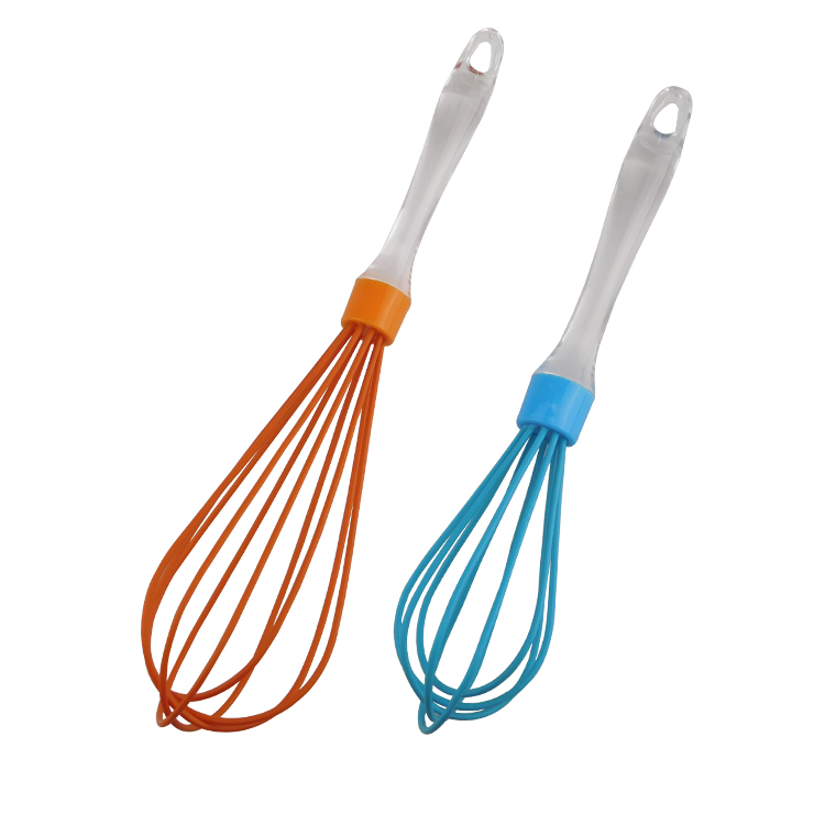 10/12 inch new transparent PP handle silicone egg whisk
