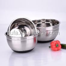 stainless steel salad bowl with silica gel bottom stainless steel mixing bowl mixing pot