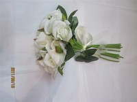 New Handmade PE White Flower Silk Ribbon Wedding Floral Bouquet Bridal Flowers
