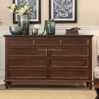 F40687A-1 Luxury antique painted solid wood 5 layers and 9 drawers storage cabinet
