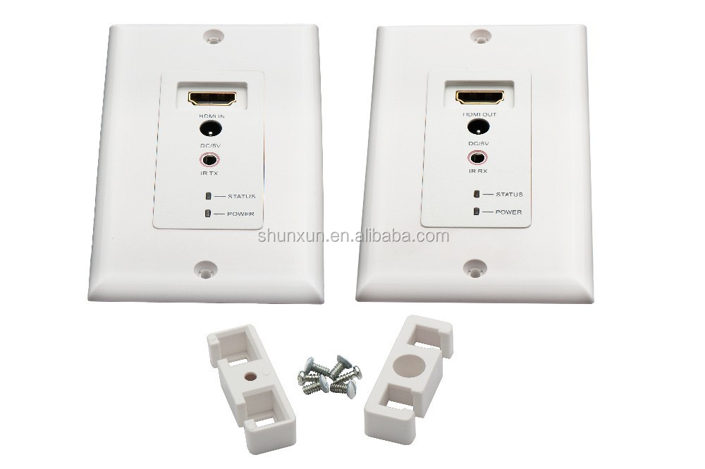 HDMI Wallplate Extender 197ft/60m under the video format of 1080p with 3d and IR controling function